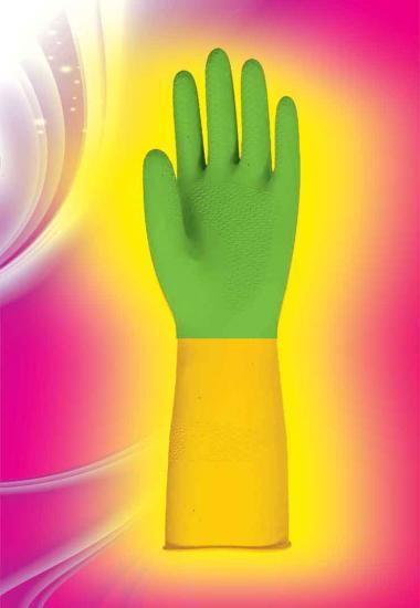 دستکش خانگی رزیتا ساق کوتاه دو رنگ